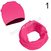 Ярко-розовый набор детский шапка и хомут Bape