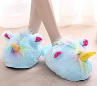 Домашние тапочки игрушки голубые Единороги, фото 1