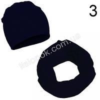 Ежевичный (черный с синим оттенком) набор детский шапка и хомут Bape