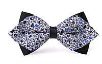 Галстук-бабочка синий с орнаментом