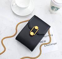 Черная женская сумка, кроссбоди с необычным замком, фото 1