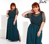 Женское нарядное платье в пол из трикотажа, размер 42-56