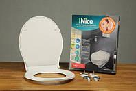 Сиденье для унитаза с крышкой из дюропласта с функцией микролифта длина 40-44 см Nice 0400