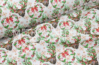 """Новогодняя ткань """"Рождественские венки с оленями """" с зелеными веточками№ 1247"""