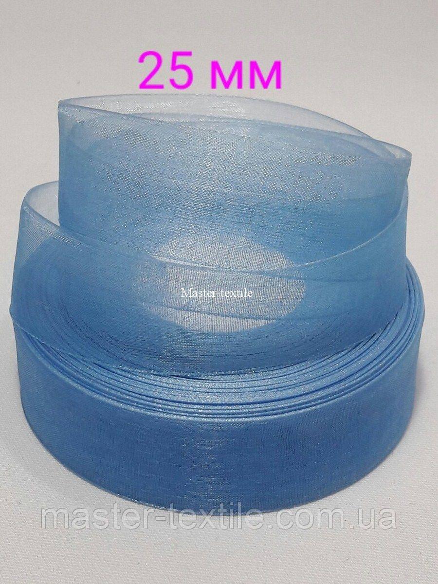 Лента из органзы 25 мм /20 ярдов, цвет бирюзовый, 20 шт/упаковка
