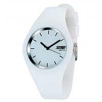 Skmei  9068 rubber   белые женские классические  часы
