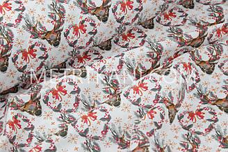 """Новогодняя ткань """"Рождественские венки с оленями """" с серыми веточками№ 1248"""