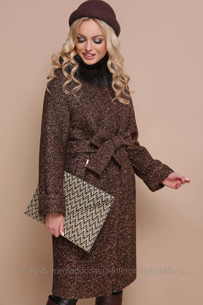 Пальто П-302-100 зм. Цвет: 1224-коричневый ЗИМА размерс 42 по 56(гм)
