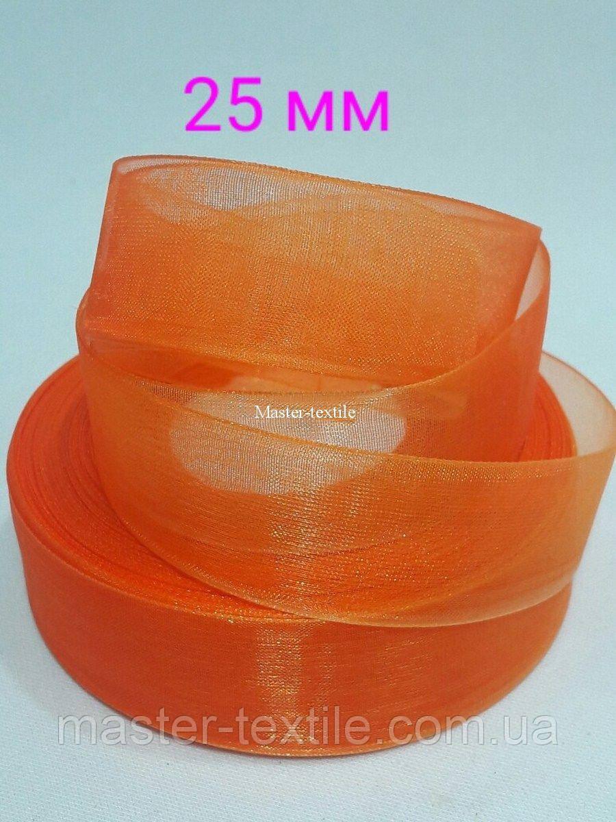 Лента из органзы 25 мм /20 ярдов, цвет оранжевый, 20 шт/упаковка