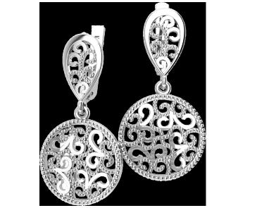 Серьги серебряные Вензеля 41183