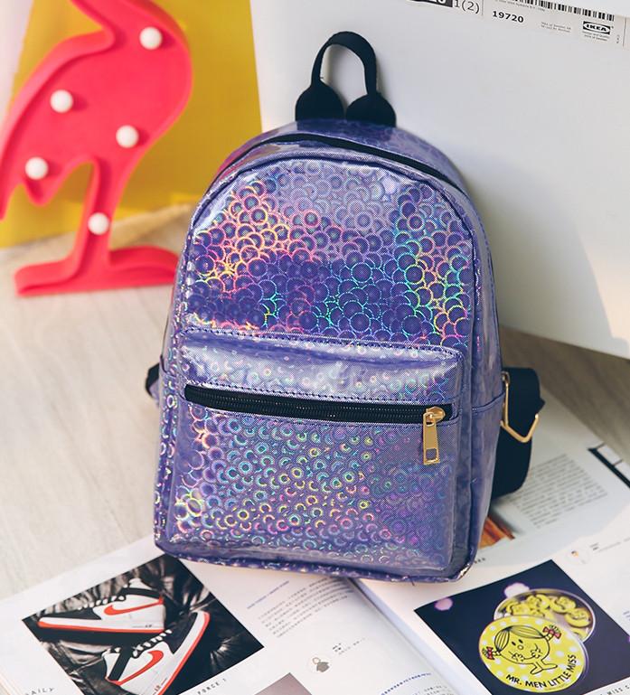 Маленький рюкзак с блестками фиолетовый