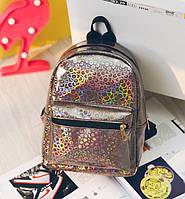Маленький рюкзак с блестками коричневый