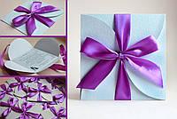 """Приглашение на свадьбу в виде конверта """"Конверт"""" с фиолетовой лентой"""