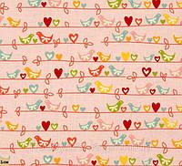 Птички, весенняя романтика, Розовый, хлопковая дизайнерская ткань для патчворка и рукоделия, PM-14