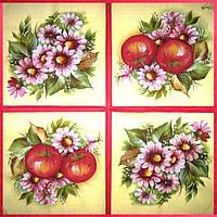 Коллекционная салфетка для декупажа Mamiko Yamashita Яблоки и хризантемы