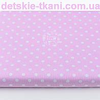 Отрез ткани с  белым горошком 7 мм на розовом фоне № 1183, размер 95*160