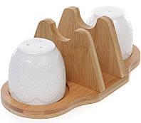 """Набор спецовников Ceram-Bamboo """"Кружево"""" соль/перец с салфетницей на бамбуковой подставке"""