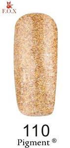Гель-лак F.O.X. 6 мл Pigment 110 золото с блестками, эмаль