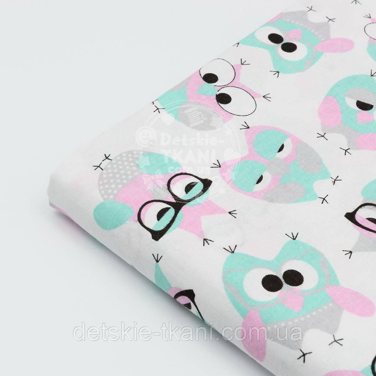 """Отрез ткани №1182 """"Совы мятно-розовые"""", фон ткани белый, размер 65*160"""