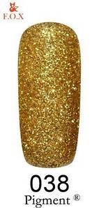 Гель-лак F.O.X. 6 мл Pigment 038 золотой глитер, эмаль