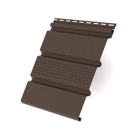 Софит RainWay коричневый с перфорацией, Панель с перфорацией белая, 3000*305*2, фото 2