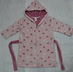 Детский халат розовый Сердечки велсофт  (Маленькие люди, Украина)