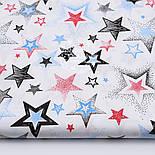 """Лоскут ткани """"Звёзды с напылением"""" красные, голубые, чёрные № 1482, размер 42*80 см, фото 2"""