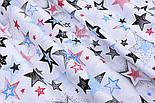 """Лоскут ткани """"Звёзды с напылением"""" красные, голубые, чёрные № 1482, размер 42*80 см, фото 4"""