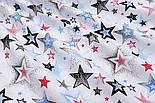 """Лоскут ткани """"Звёзды с напылением"""" красные, голубые, чёрные № 1482, размер 42*80 см, фото 8"""