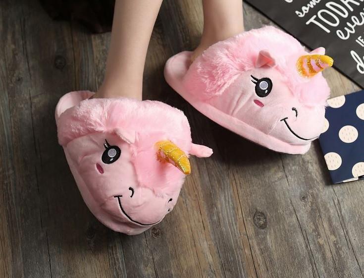 Детские розовые тапочки игрушки Единороги