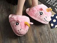 Детские розовые тапочки игрушки Единороги, фото 1