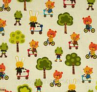 Забавные животные, детская ткань, хлопковая дизайнерская ткань для патчворка и рукоделия, PM-7