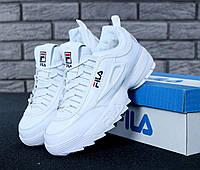 Кроссовки Мужские FILA Disruptor II FUR, Фила белые зимние кожаные кроссовки  с мехом, реплика d962b5e67c5