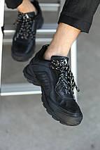 Мужские демисезонные кроссовки Adidas Terrex. Чёрные/Кожа, фото 2