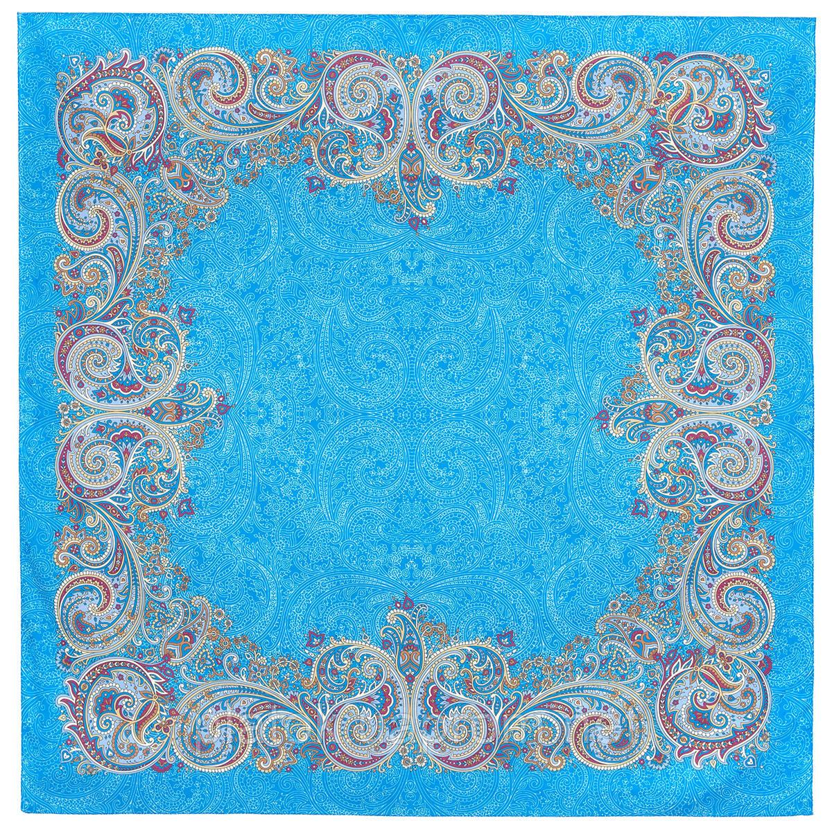 Встреча 1718-11, павлопосадский платок хлопковый (батистовый) с швом зиг-заг