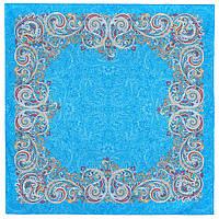 Встреча 1718-11, павлопосадский платок хлопковый (батистовый) с швом зиг-заг, фото 1