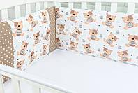 Защита в детскую кроватку ASIK Мишки Teddy и звёздочки на мятном (1-70)