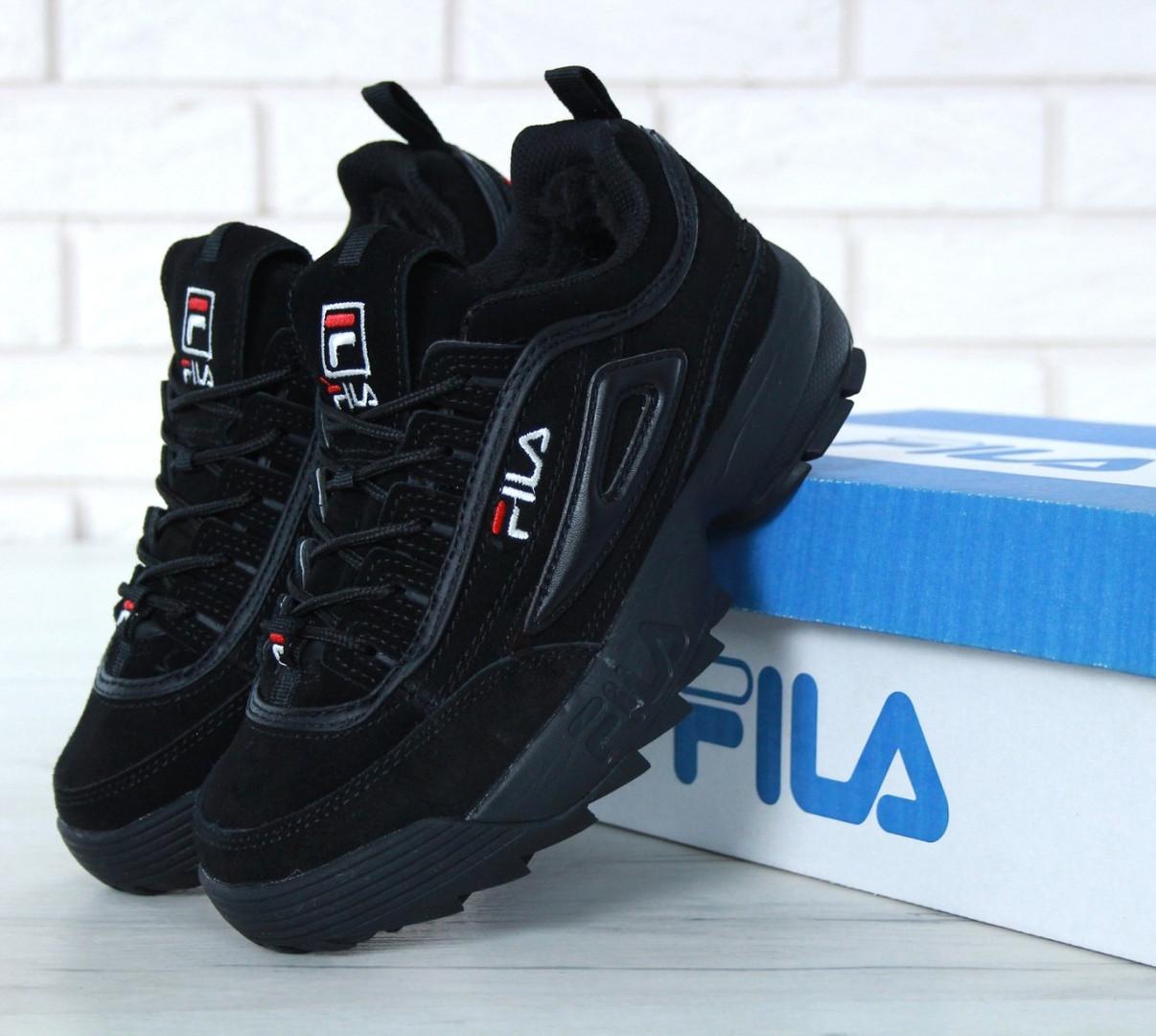 9b7b950d3af3 Кроссовки Мужские FILA Disruptor II FUR, Фила черные зимние замшевые  кроссовки с мехом, реплика