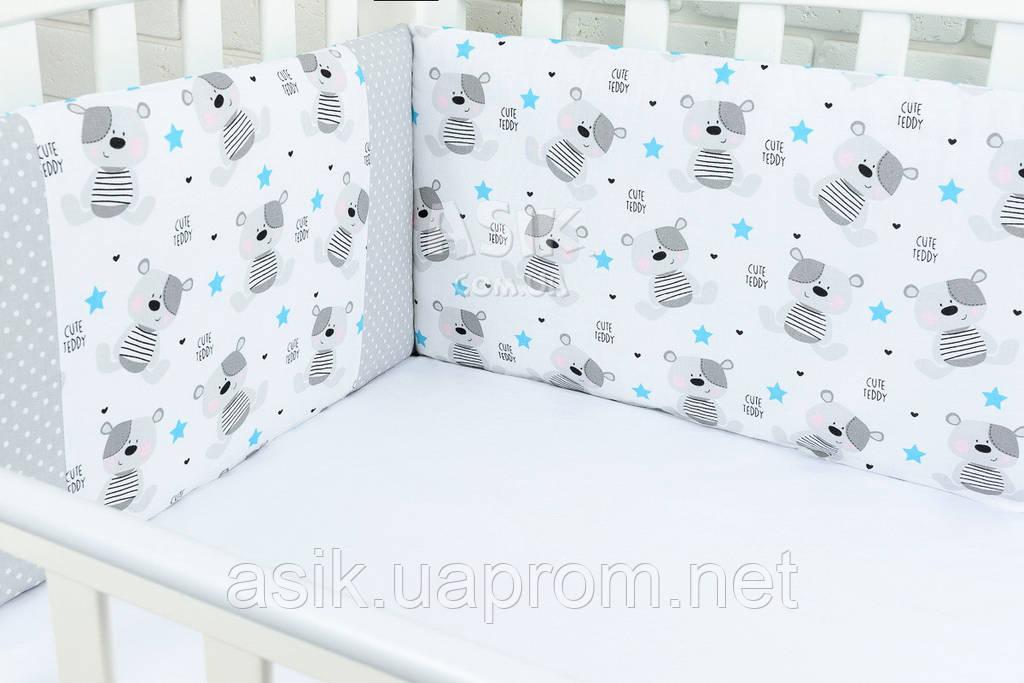 Защита в детскую кроватку ASIK Мишки Teddy и зигзаг голубого цвета (1-72)