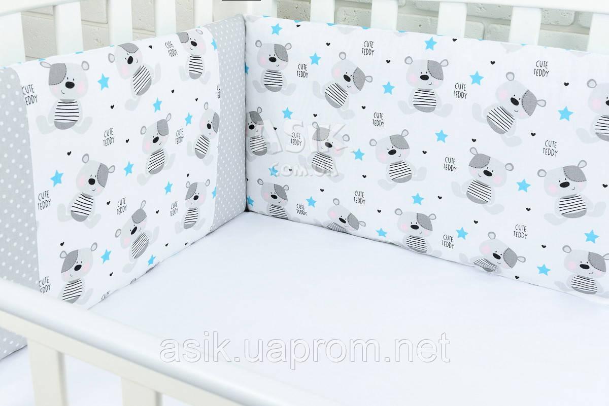 Захист в дитячу ліжечко ASIK Ведмедики Teddy і зигзаг блакитного кольору (1-72)
