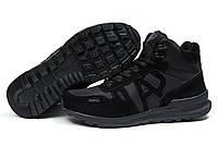 Зимние кроссовки на меху Armani Jeans, черные (30481), р.  [  42 44 45  ]
