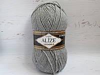 Пряжа для вязания Alize Lanagold цвет 21 светло-серый, полушерстяная пряжа для вязания шапок, свитеров
