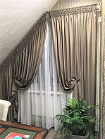 Кабинет: шторы и тюль на мансардном окне
