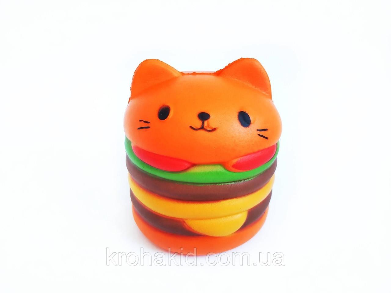 Сквиш кот-бургер / котобургер / кот-бутерброд / Сквуши / Игрушка-антистересс