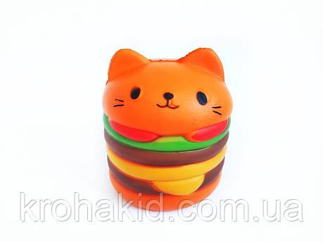 Сквиш кот-бургер / котобургер / кот-бутерброд / Сквуши / Игрушка-антистересс, фото 2