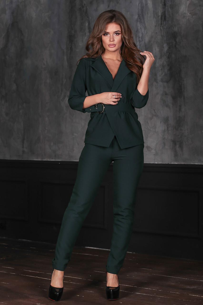 Зеленый Костюм брюки + жакет с поясом