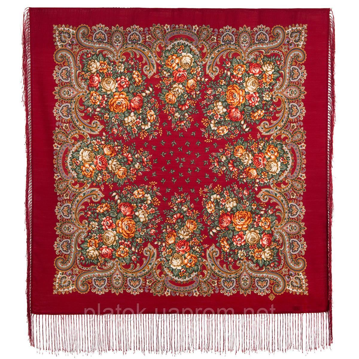 Душистый луг 1830-5, павлопосадский платок шерстяной  с шелковой бахромой