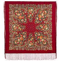 Душистый луг 1830-5, павлопосадский платок шерстяной  с шелковой бахромой, фото 1