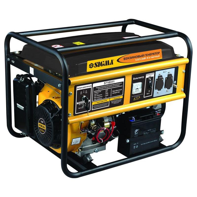 Генератор 5-5.5 кВт бензиновый 4-х тактный Sigma 5710311