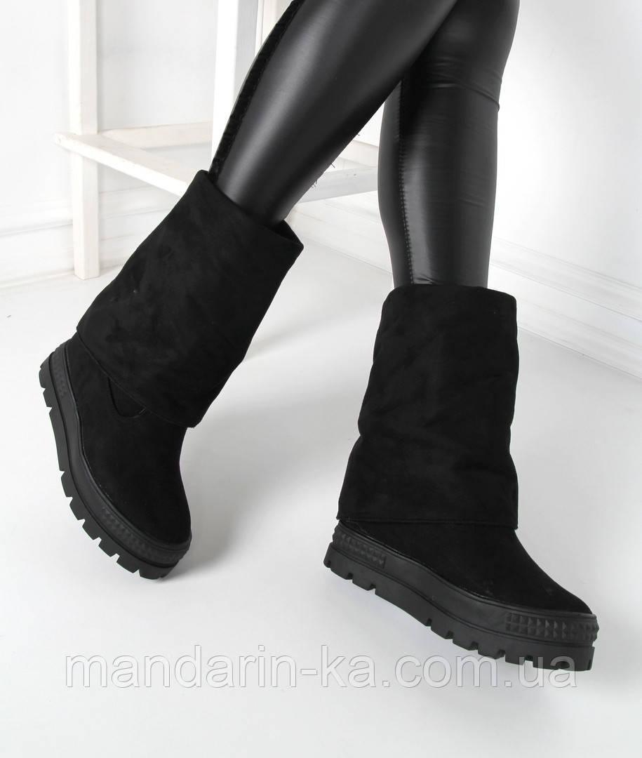 Женские демисезонные сапоги  черные касадеи, фото 1